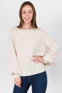 Oatmeal Balloon Sleeve Pullover