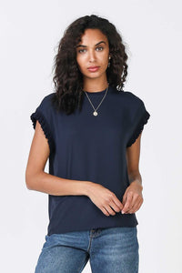 Navy Ribbed Hem Top
