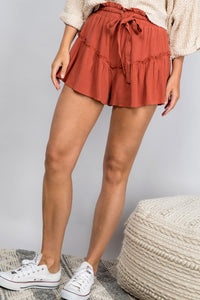 Rust Ruffle Shorts