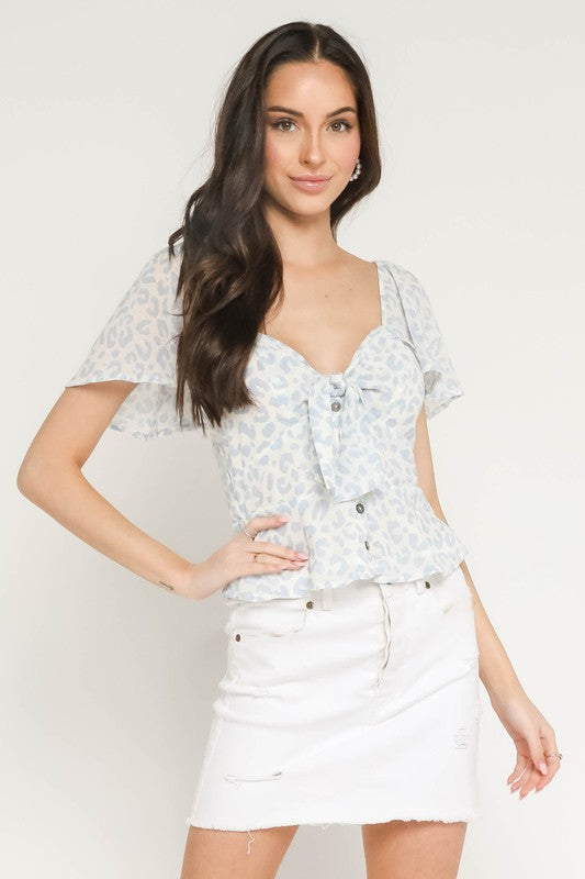 Light Blue Leopard Top