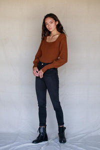 Tobacco Knit Puff Sleeve Top