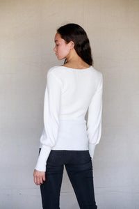 White Knit Puff Sleeve Top