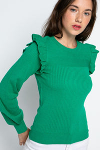 Shoulder Ruffle Sweater