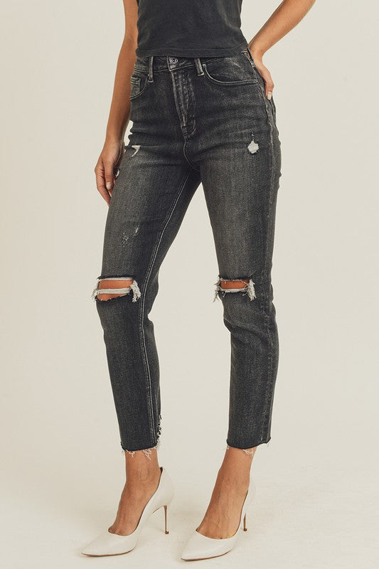 Black High Waist Distressed Jeans