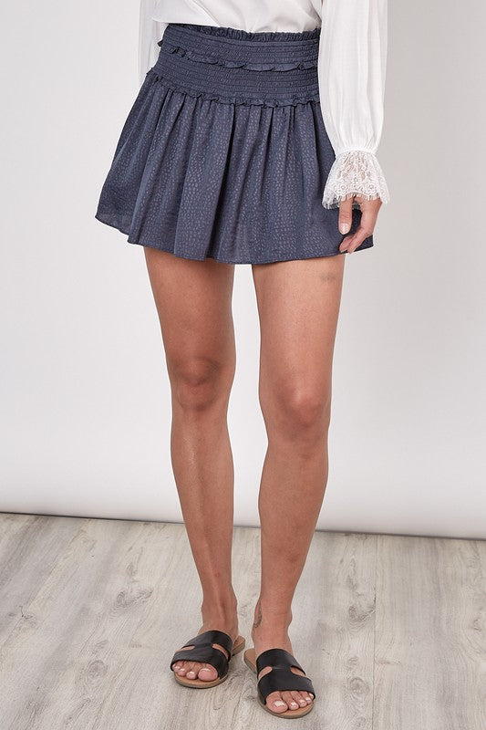 Navy Textured Smocking Skort