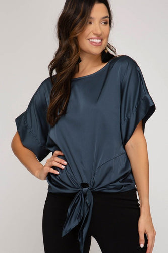 Midnight Satin Tie Top