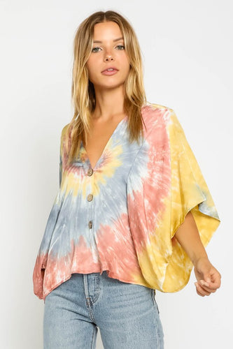 Primary Colors Tie Dye Blouse