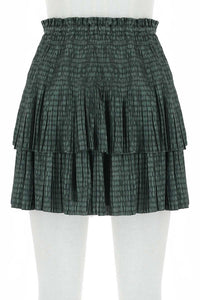 Dusty Green Tiered Mini Skirt