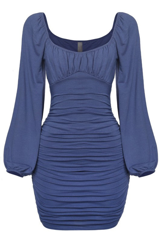 Steel Blue Ruched Dress