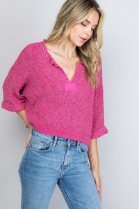 Fuchsia Cropped Sweater