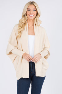 Oatmeal Open Cardigan