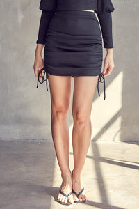 Black Ribbed Ruched Skirt