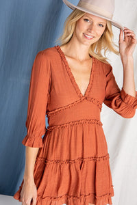 Rust Ruffle Trim Dress
