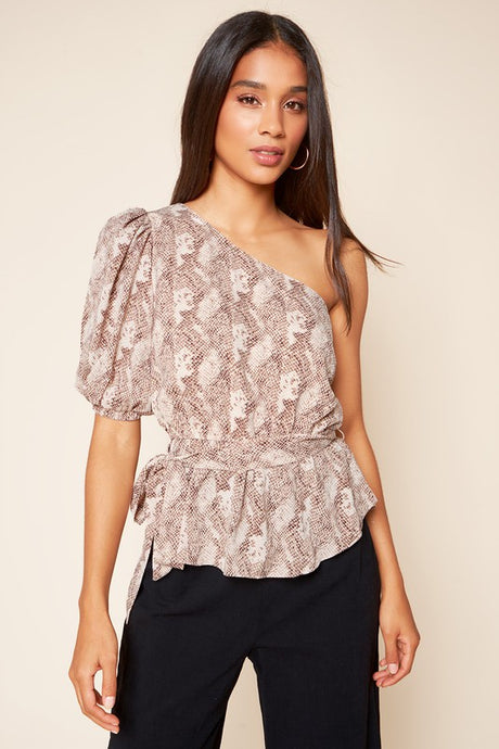 Taylor Snake One Shoulder Top