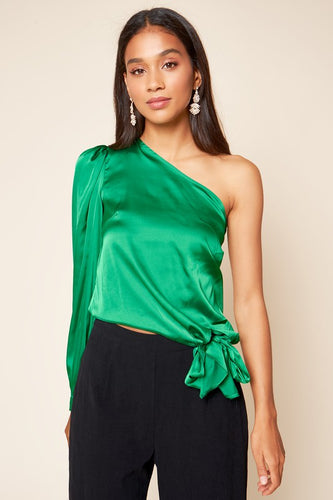 Emerald One Shoulder Satin Top