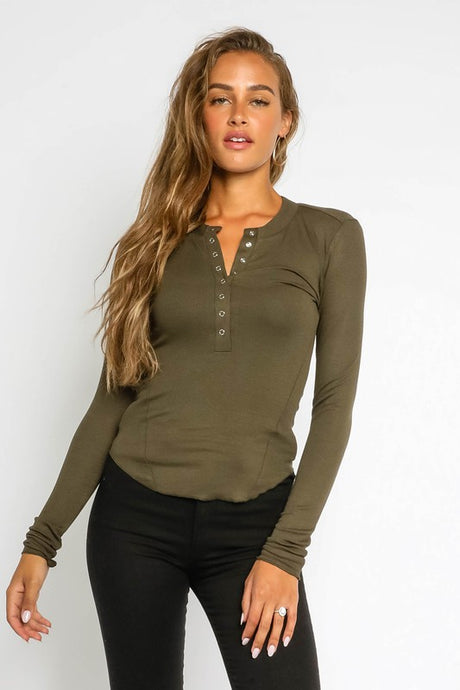 Ribbed Long Sleeve Henley