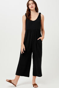 Black Sleeveless Cotton Jumpsuit