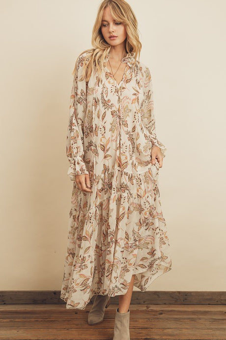 Paisley Flower Tiered Midi Dress
