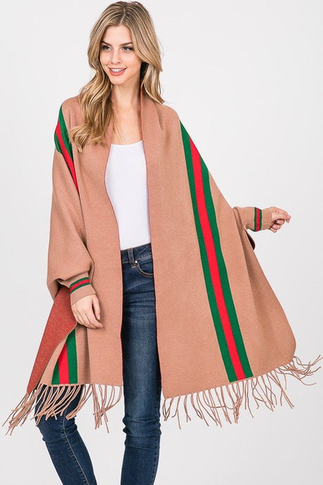 Stripe Fringe Shawl