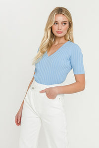 Blue Ribbed Fitted Knit Top