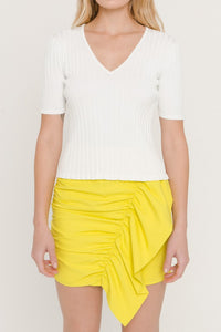 White Ribbed Fitted Knit Top