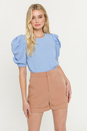 Blue Pleated Puff Sleeve Top