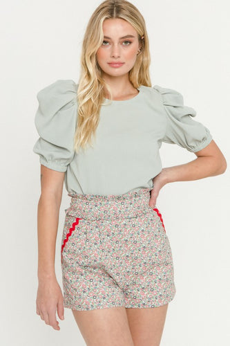Light Green Pleated Puff Sleeve Top