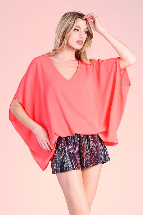 Bright Coral Blouse