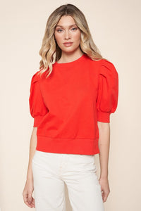 Bright Red Sweatshirt Top