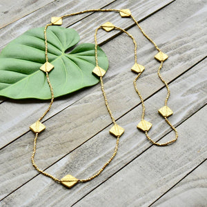 Brass Bead Long Necklace