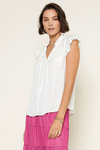 White Pleated Sleeve Blouse
