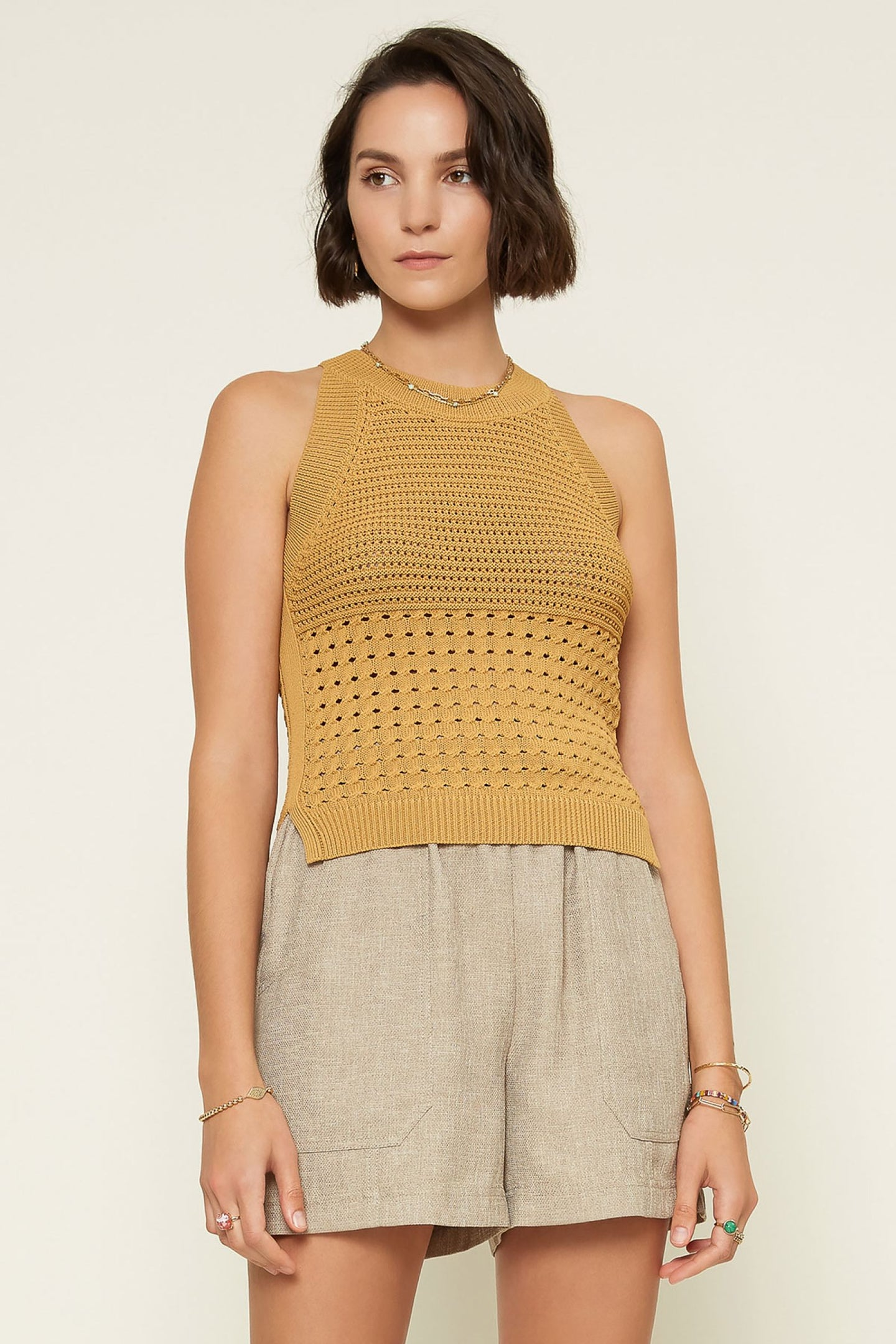 Butterscotch Halter Sweater Top