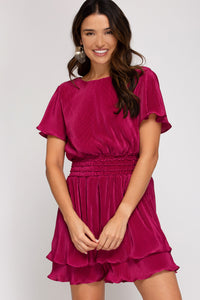 Raspberry Flutter Dress
