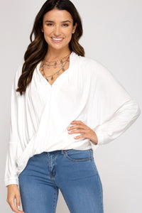 White Surplice Knit Top