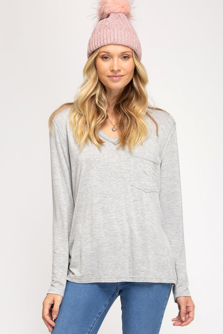 Grey Long Sleeve Slub Tee