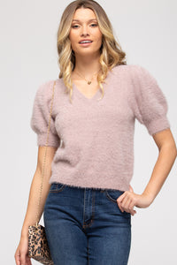 Mauve Fuzzy Short Sleeve Sweater