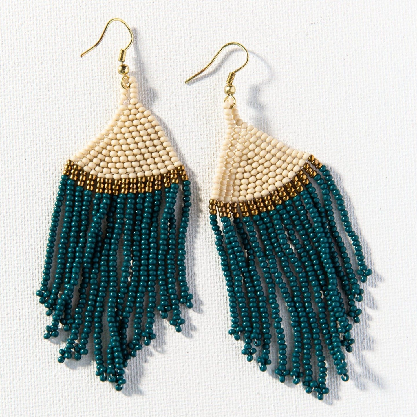 Peacock Ivory Gold Stripe Seed Bead Earring