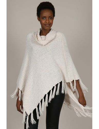 Knit Fringe Cream Poncho