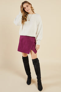 Plum Suede Skirt