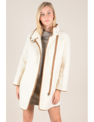 Cream Teddy Coat w/ Camel Trim