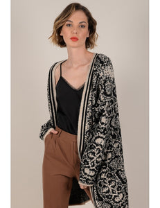 Beige Snake Long Cardigan
