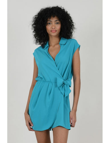 Turquoise Faux Wrap Playsuit