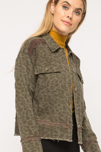 Army Leopard Denim Jacket