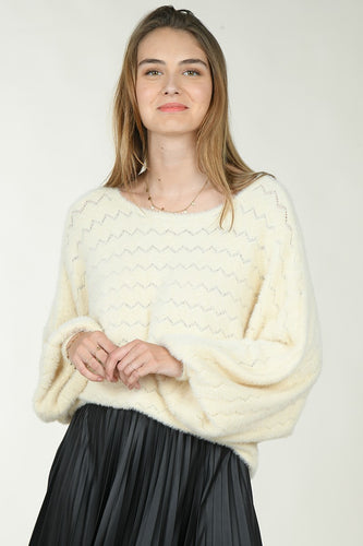 Ecru Chevron Dolman Sweater