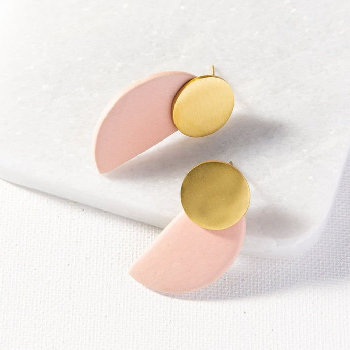 Blush Semicircle Earrings