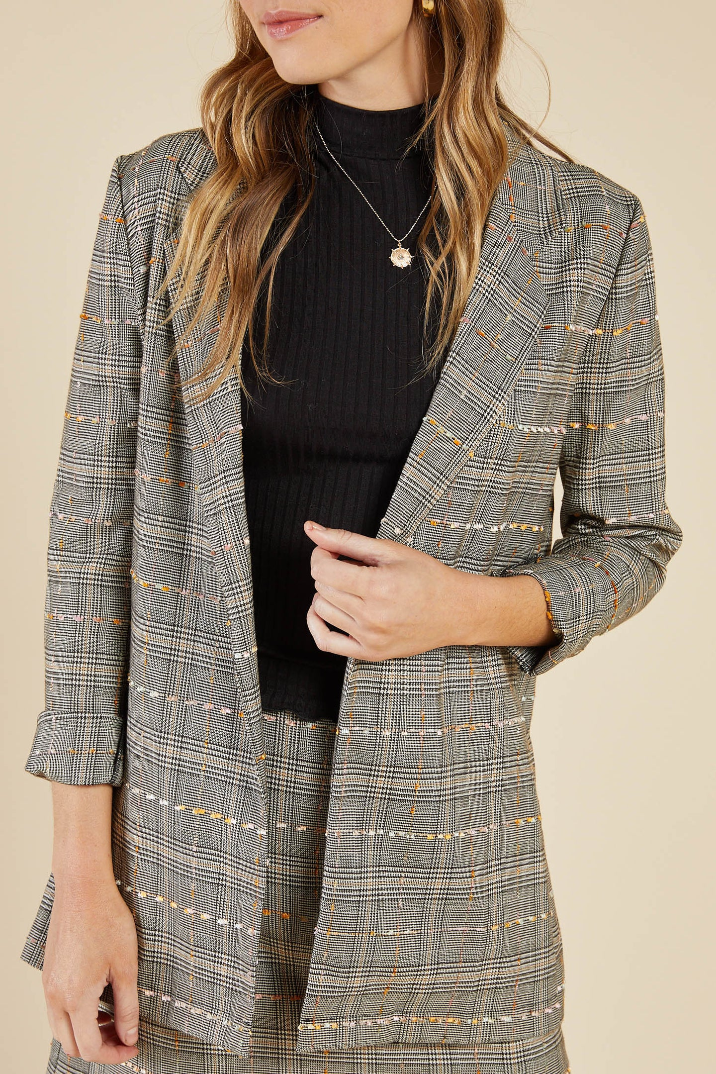 PLAID OPEN BLAZER, SADIE AND SAGE,