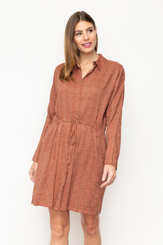 Taupe + Rust Button Down Dress