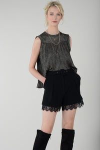 Spotted Woven Sleeveless Top