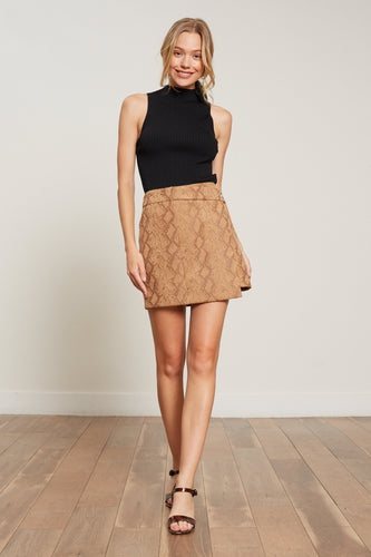 Chloe Brown Snake Mini Skirt