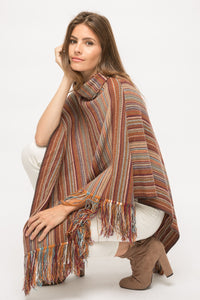 Knit Striped Poncho